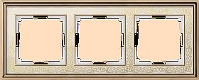 Рамка на 3 поста /WL77-Frame-03 (золото/белый)