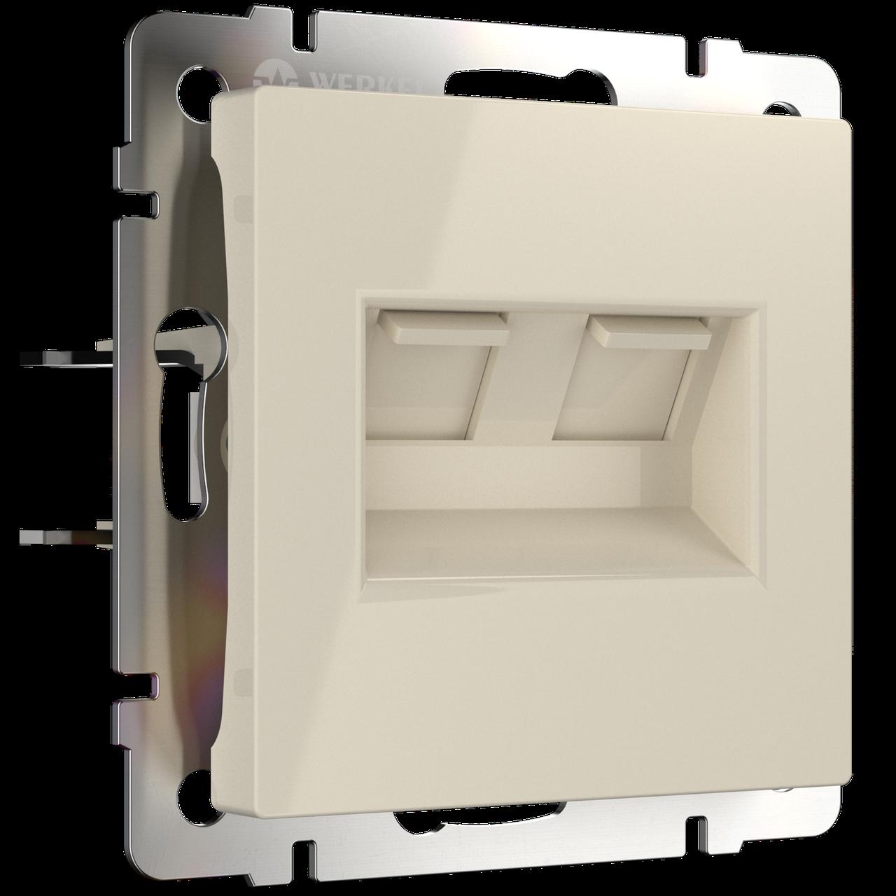Розетка телефонная RJ-11 и Ethernet RJ-45 /WL05-RJ11-45-white (белая)