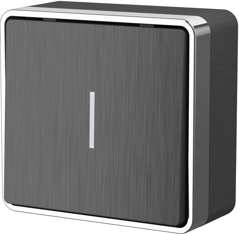 Выключатель одноклавишный с подсветкой Gallant /WL15-01-04 (графит рифленый)