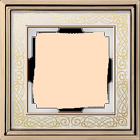 Рамка на 1 пост /WL77-Frame-01 (золото/белый)