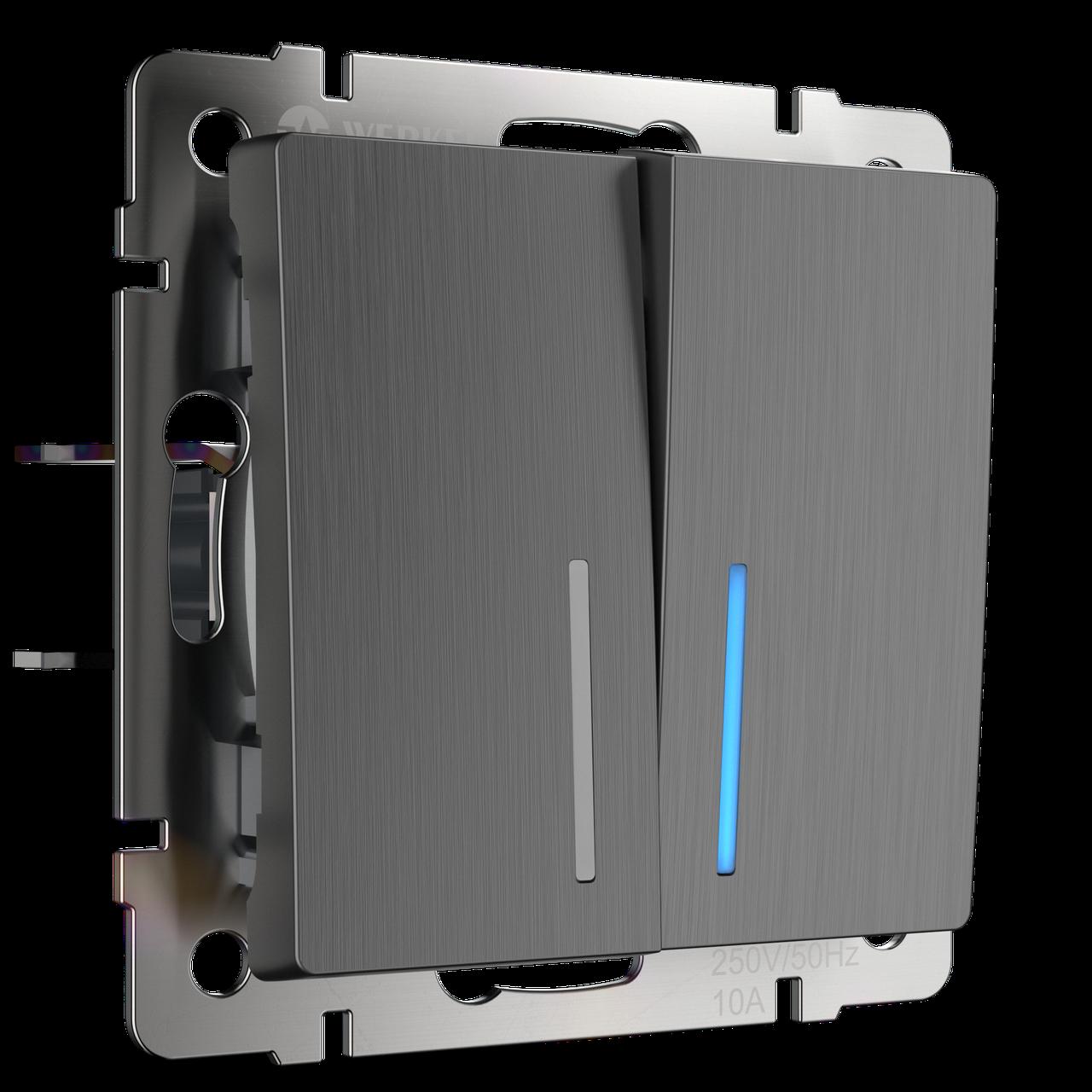 Выключатель двухклавишный проходной с подсветкой /WL04-SW-2G-2W-LED (графит рифленый)