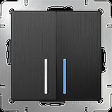 Выключатель двухклавишный проходной с подсветкой /WL04-SW-2G-2W-LED (графит рифленый), фото 2