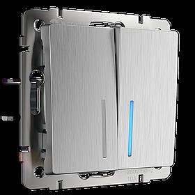 Выключатель двухклавишный проходной с подсветкой /WL09-SW-2G-2W-LED (серебряный рифленый)