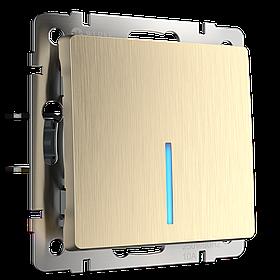 Выключатель одноклавишный проходной с подсветкой /WL10-SW-1G-2W-LED (шампань рифленый)