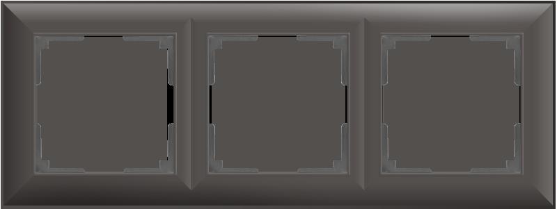 Рамка на 3 поста /WL14-Frame-03 (серо-коричневый)