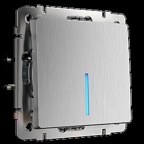 Выключатель одноклавишный с подсветкой /WL09-SW-1G-LED (серебряный рифленый)