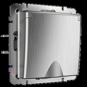 Розетка влагозащ. с зазем. с защит.крышкой и шторками /WL09-SKGSC-01-IP44 (серебряный рифленый)