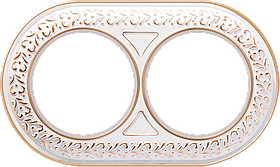 Рамка на 2 поста /WL07-Frame-02 (белое золото)