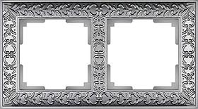 Рамка на 2 поста /WL07-Frame-02 (матовый хром)