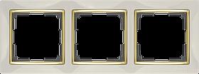 Рамка на 3 поста /WL03-Frame-03-ivory-GD (слоновая кость/золото)
