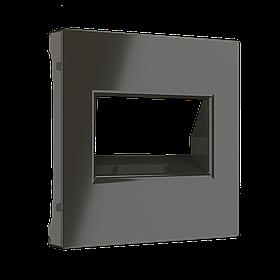 Розетка двойная Ethernet RJ-45 /WL07-RJ45+RJ45 (серо-коричневый)