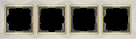 Рамка на 4 поста /WL03-Frame-04-ivory-GD (слоновая кость/золото)