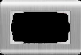 Рамка для двойной розетки /WL12-Frame-01-DBL (серебряный)