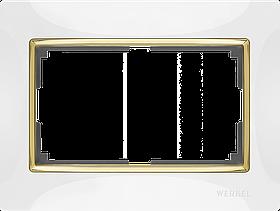 Рамка для двойной розетки /WL03-Frame-01-DBL-white-CD (белый/золото)