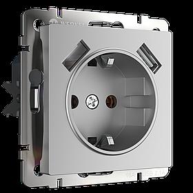 Розетка с заземлением и шторками и USBx2 /WL06-SKGS-USBх2-IP20 (серебрянный)