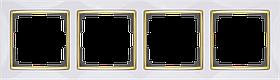 Рамка на 4 поста /WL03-Frame-04-white-GD (белый/золото)