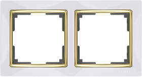 Рамка на 2 поста /WL03-Frame-02-white-GD (белый/золото)
