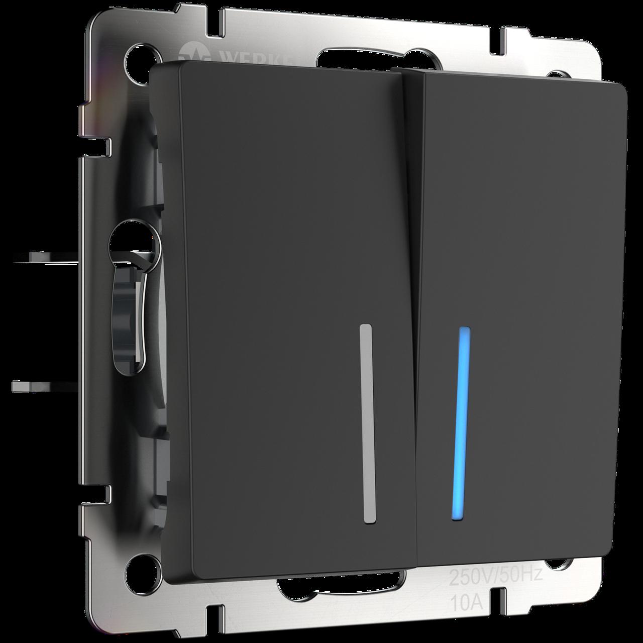 Выключатель двухклавишный проходной с подсветкой /WL08-SW-2G-2W-LED (черный матовый)