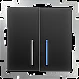 Выключатель двухклавишный проходной с подсветкой /WL08-SW-2G-2W-LED (черный матовый), фото 2