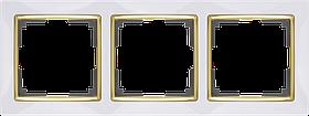 Рамка на 3 поста /WL03-Frame-03-white/GD (белый/золото)