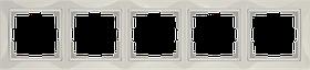 Рамка на 5 постов /WL03-Frame-05 (слоновая кость, basic)
