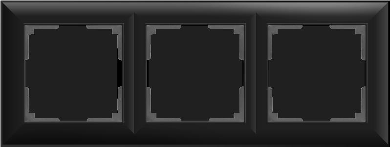 Рамка на 3 поста /WL14-Frame-03 (черный матовый)