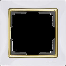 Рамка на 1 пост /WL03-Frame-01-GD (белый золото)