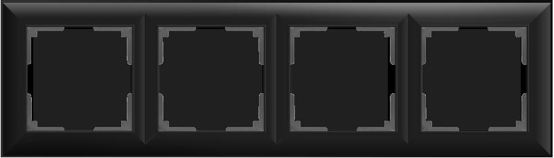 Рамка на 4 поста /WL14-Frame-04 (черный матовый)