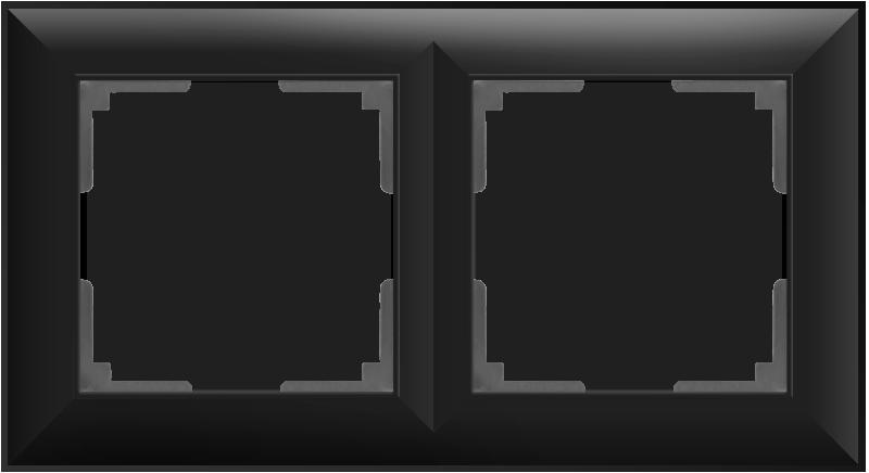 Рамка на 2 поста /WL14-Frame-02 (черный матовый)