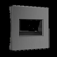 Накладка для двойной розетки Ethernet RJ45 /WL04-RJ45+RJ45-CP/ (графит рифленый)