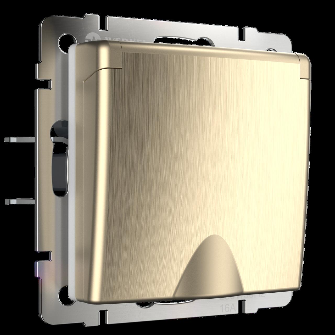 Розетка влагозащ. с зазем. с защит.крышкой и шторками /WL10-SKGSC-01-IP44 (шампань рифленый)