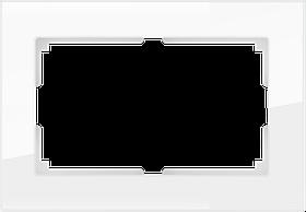 Рамка для двойной розетки /WL01-Frame-01-DBL (белый/стекло)
