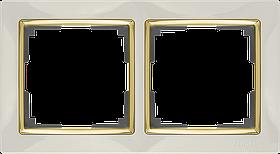 Рамка на 2 поста /WL03-Frame-02-ivory-GD (слоновая кость/золото)