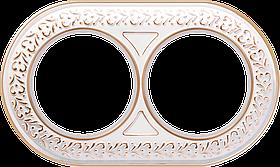 Рамка на 2 поста /WL70-Frame-02 (белое золото)