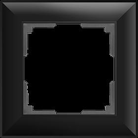 Рамка на 1 пост /WL14-Frame-01 (черный матовый)