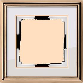 Рамка на 1 пост /WL17-Frame-01 (золото/белый)