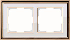 Рамка на 2 поста /WL17-Frame-02 (золото/белый)