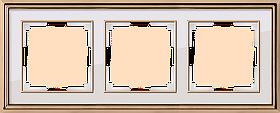 Рамка на 3 поста /WL17-Frame-03 (золото/белый)