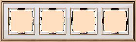 Рамка на 4 поста /WL17-Frame-04 (золото/белый)