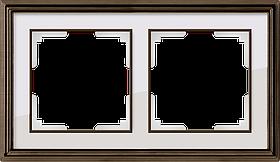 Рамка на 2 поста /WL17-Frame-02 (бронза/белый)