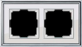 Рамка на 2 поста /WL17-Frame-02 (хром/белый)