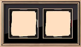 Рамка на 2 поста /WL17-Frame-02 (золото/черный)