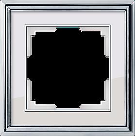 Рамка на 1 пост /WL17-Frame-01 (хром/белый)