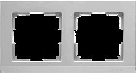 Рамка на 2 поста /WL06-Frame-02 (серебряный)