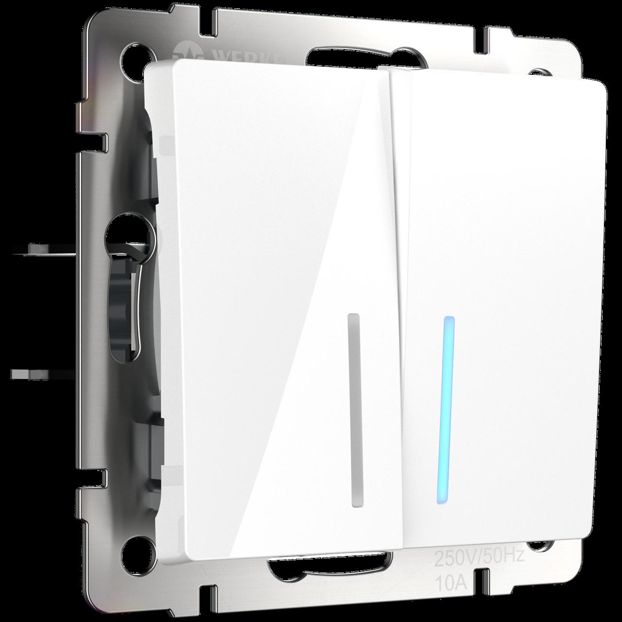 Выключатель двухлавишный /WL01-SW-2G (белый)
