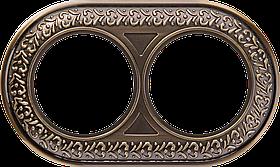 Рамка на 2 поста /WL07-Frame-02 (бронза)