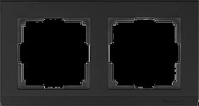 Рамка на 2 поста /WL04-Frame-02-black (черный)