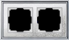 Рамка на 2 поста /WL77-Frame-02 (хром/белый)