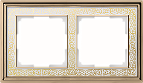 Рамка на 2 поста /WL77-Frame-02 (золото/белый)