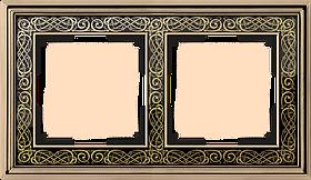 Рамка на 2 поста /WL77-Frame-02 (золото/черный)